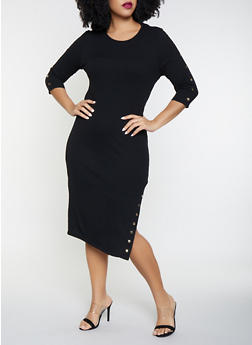 Plus Size Studded Rib Knit Sweater Dress - 3930069390776