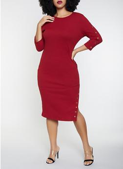 Plus Size Studded Rib Knit Sweater Dress - 3930069390776