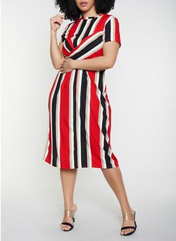Plus Size Twist Front Striped Dress - 3930069391037