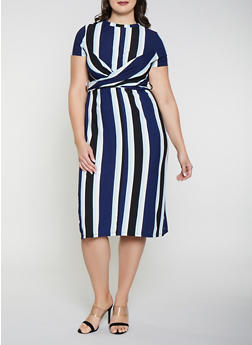 Plus Size Twist Front Striped Dress - 3930069391037
