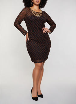 Plus Size Geometric Mesh Bodycon Dress - 3930069391122
