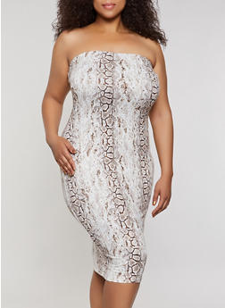 Plus Size Snake Print Tube Dress - 3930069391125