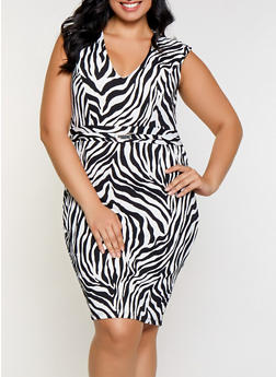 Plus Size Zebra Print Bodycon Dress - 3930069391127