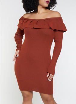 Plus Size Ruffled Sweater Dress - 3930069391600