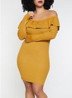 Plus Size Ruffled Sweater Dress - 3930069391600