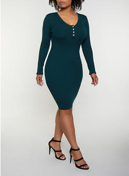 Plus Size Scoop Neck Sweater Dress - 3930069391693