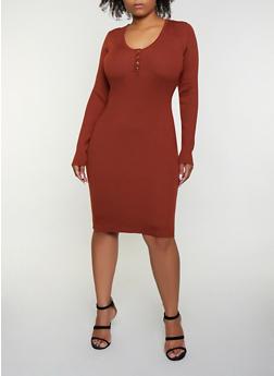 Plus Size Scoop Neck Sweater Dress - 3930069391693