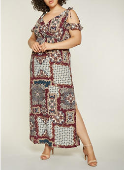 Plus Size Printed Cold Shoulder Maxi Dress - 3930069392311