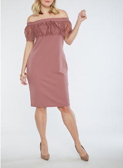 Plus Size Crepe Knit Off the Shoulder Dress with Lace Overlay - 3930069393322