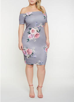 Plus Size Off the Shoulder Printed Dress - 3930069393381