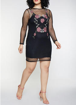Plus Size Embroidered Floral Mesh Dress - 3930069393390