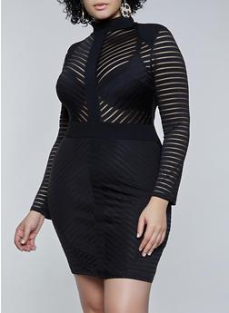 Plus Size Striped Mesh Bodycon Dress - 3930069393416