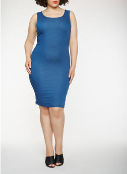 Plus Size Midi Tank Denim Dress - 3930069393535