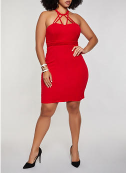 Plus Size Pleated Caged Bodycon Dress - 3930069393551