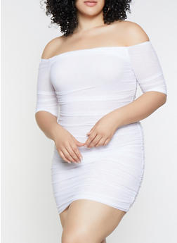 Plus Size Off the Shoulder Mesh Dress - 3930069393584