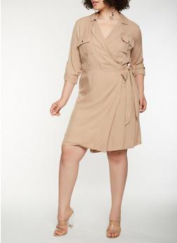 Plus Size Long Sleeve Wrap Shirt Dress - 3930069393609