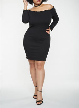 Plus Size Ribbed Knit Off the Shoulder Dress - 3930069393812