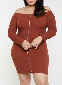 Plus Size Zip Front Off the Shoulder Dress - 3930069393885