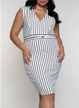 Plus Size Striped Pattern Bodycon Dress - 3930069393996