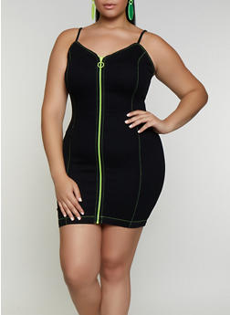 Plus Size Neon Zipper Cami Bodycon Dress - 3930069394001