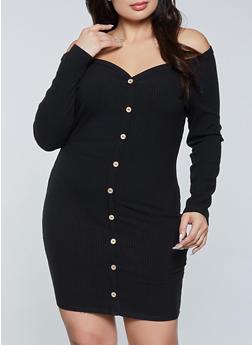 Plus Size Button Off the Shoulder Bodycon Dress - 3930069394010