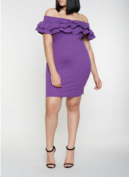 Plus Size Ruffled Off the Shoulder Dress - 3930069394048