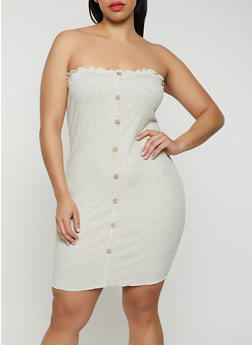 Plus Size Faux Button Tube Dress - 3930069394137