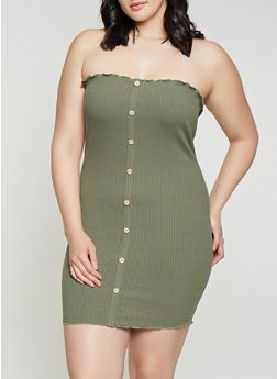 Plus Size Faux Button Tube Dress - 3930069394137