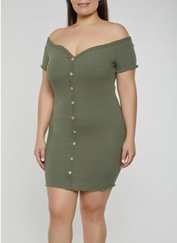 Plus Size Off the Shoulder Button Front Dress - 3930069394163