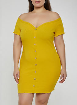 Plus Size Off the Shoulder Button Front Dress - 3930069394163