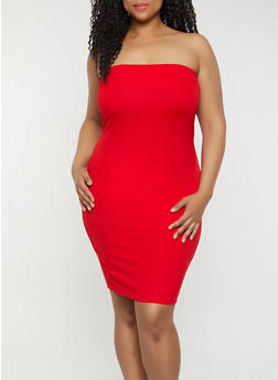 Plus Size Solid Ponte Tube Dress - 3930069394164