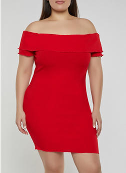 Plus Size Ruffled Off the Shoulder Rib Knit Dress - 3930069394183