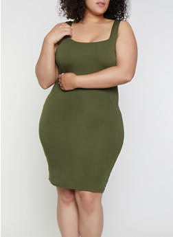 Plus Size Square Neck Tank Dress - 3930069394191