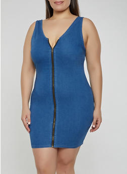 Plus Size Zip Front Denim Bodycon Dress - 3930069394194