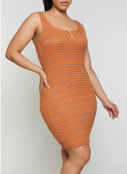 Plus Size Striped Rib Knit Tank Dress - 3930069394203