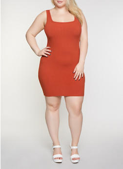 Plus Size Ribbed Tank Dress - 3930069394208