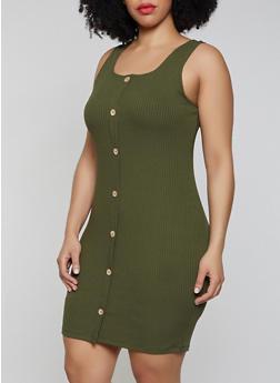 Plus Size Faux Button Tank Dress - 3930069394209