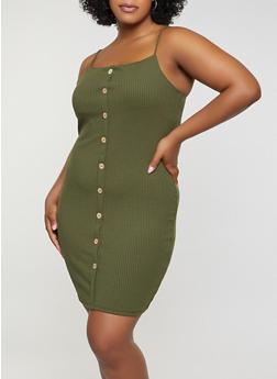 Plus Size Rib Knit Cami Dress - 3930069394210