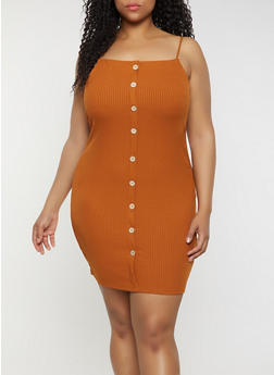 Plus Size Rib Knit Cami Dress - 3930069394210