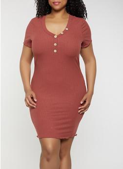 Plus Size Button V Neck Rib Knit Dress - 3930069394217