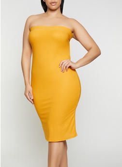 Plus Size Solid Midi Tube Dress - 3930069394219