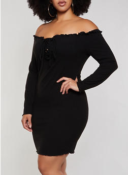 Plus Size Ribbed Off the Shoulder Lace Up Bodycon Dress - 3930069394235