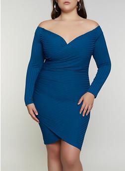 Plus Size Off the Shoulder Faux Wrap Dress - 3930069394236