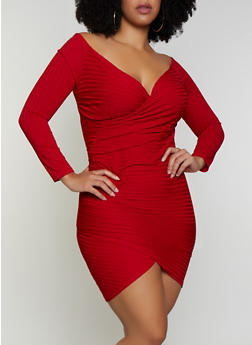 Plus Size Off the Shoulder Faux Wrap Dress - 3930069394236