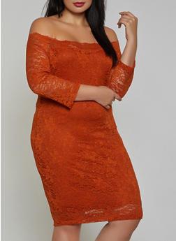 Plus Size Lace Off the Shoulder Dress - 3930069394262