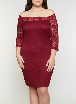 Plus Size Lace Off the Shoulder Dress - 3930069394262