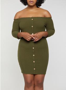 Plus Size Button Detail Off the Shoulder Dress - 3930069394275