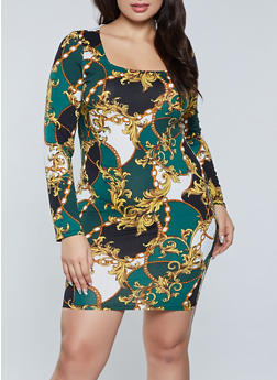 Plus Size Status Print Square Neck Dress - 3930069394300
