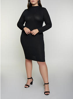 Plus Size Rib Knit Midi Bodycon Dress - 3930069394306