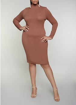 Plus Size Rib Knit Midi Bodycon Dress - 3930069394306
